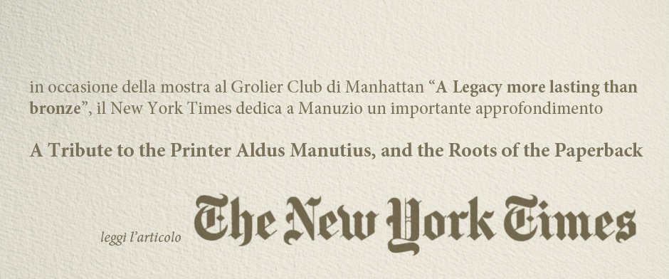 NEW YORK TIMES ALDUS MANUTIUS