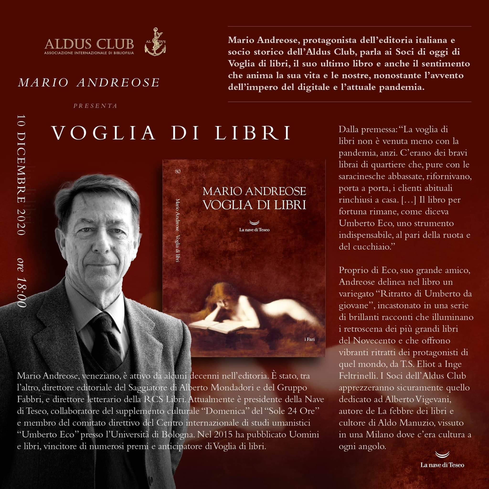 """La """"Voglia di libri"""" di Mario Andreose"""