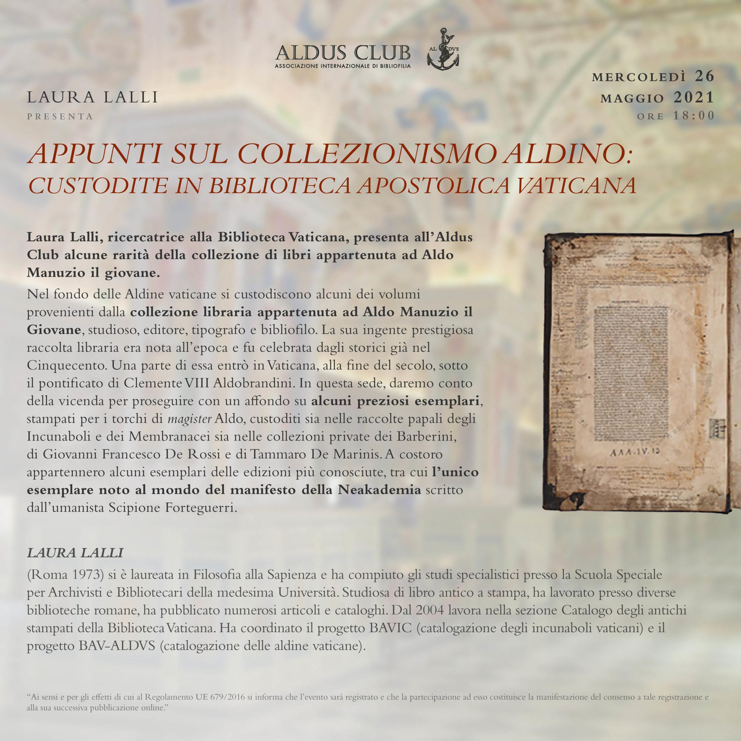 Appunti sul collezionismo Aldino: preziose testimonianze custodite in Biblioteca Apostolica Vaticana.